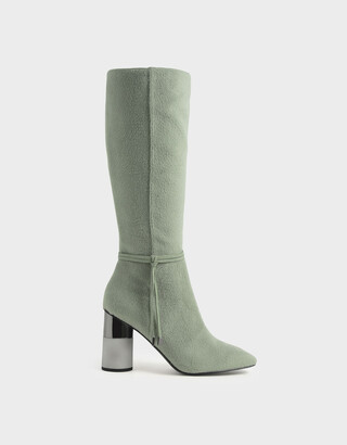 Charles & Keith Concrete Heel Knee-High Boots