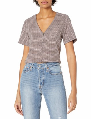 RVCA Junior's Rise and Shine V Neck Zip Front Shirt