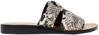 Rag & Bone Arc Buckled Snake-effect Leather Slides