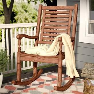 Three Posts Jarrard Solid Acacia Wood Patio Rocking Chair