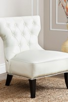 White Cole Leather Nailhead Chair