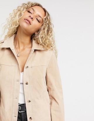Vila oversize real suede overshirt in tan