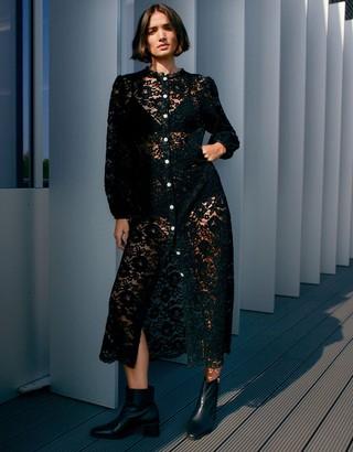 Monsoon Francesca Floral Lace Shirt Dress Black