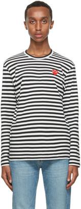 Comme des Garcons Black Stripe Double Heart Long Sleeve T-Shirt