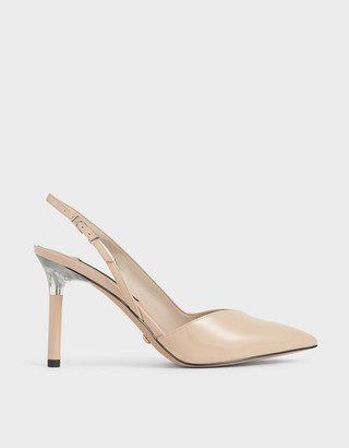 Charles & Keith Patent Leather Half D'Orsay Slingback Pumps