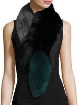 Charlotte Simone Popsicle Fox Fur Colorblock Scarf, Black/Green