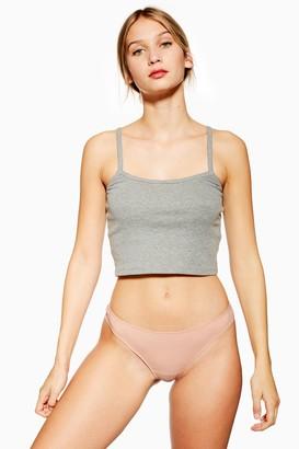 Topshop Womens Ribbed Thong - Nude