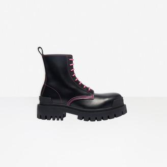Balenciaga Strike 20mm Lace-up Boot in black matte leather
