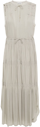 James Perse Shirred Mousseline Midi Dress