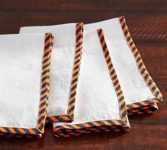 Pottery Barn Repp Stripe Edged Napkin, Set of 4