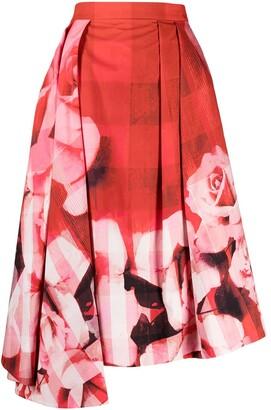 Alexander McQueen Asymmetric Floral Skirt