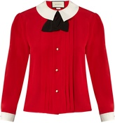 Gucci Contrast-collar silk-crepe blouse