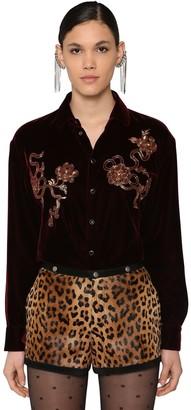 Saint Laurent Embellished Velvet Shirt