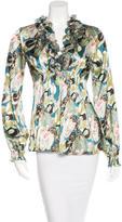 Roberto Cavalli Abstract Print Silk Top