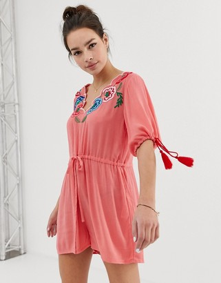 ASOS DESIGN romper with embroidery and tie sleeve detail