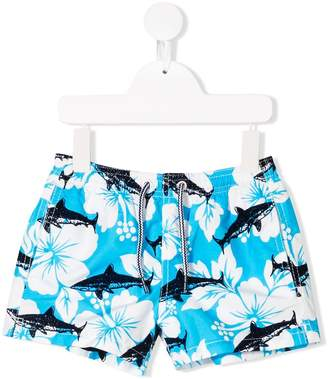 MC2 Saint Barth Kids whale and floral print swim shorts
