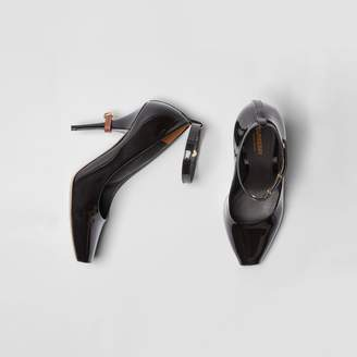 Burberry D-ring Detail Patent Leather Peep-toe Pumps