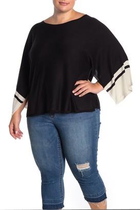 Eileen Fisher Bateau Neck Stripe Sleeve Shirt (Plus Size)
