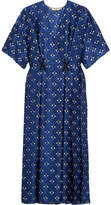 Fendi Embellished Printed Silk Wrap-effect Dress - Blue