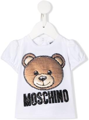 MOSCHINO BAMBINO logo bear embroidered T-shirt