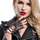 Matsu Gloves MATSU Women Lady's Goth Lace-up Style Fingerless Lambskin Leather Gloves M9223 (, M)