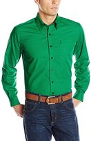 Cinch Men's Modern Fit Long Sleeve Print Shirt with Button Front Contrasting Cuffs and Collar, Green
