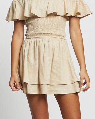 Atmos & Here Atmos&Here - Women's Brown Mini skirts - Tahlia Linen Ruffle Skirt - Size 6 at The Iconic