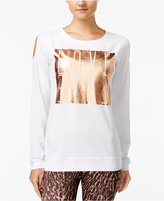 Material Girl Active Juniors' Cold-Shoulder Graphic Sweatshirt, Only at Macy's