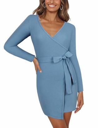 Moyabo Women's Vintage V-Neck Long Sleeve Sheath Casual Party Work Wrap Mini Dress Blue Grey Medium