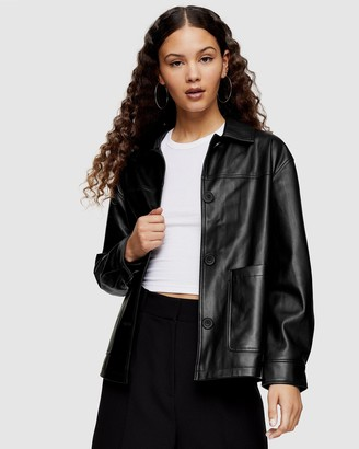 Topshop Faux Leather Shacket