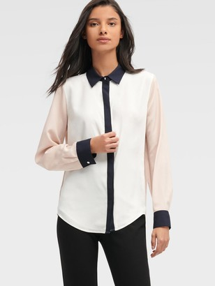 DKNY Women's Colorblock Button Up - Black - Size XL
