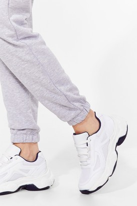 Nasty Gal Womens Run for It Faux Leather Chunky Sneakers - White
