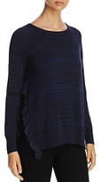 Heather B Ruffled Side-Slit Sweater