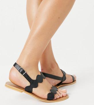ASOS DESIGN Wide Fit Feedback leather flat sandals in black