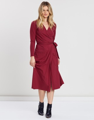 People Tree Imogen Red Wrap Dress - organic cotton | burgundy | UK 8 - Burgundy