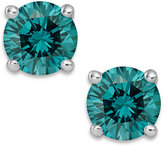 Macy's 14k White Gold Earrings, Treated Blue Diamond Stud Earrings (1 ct. t.w.)