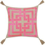 The Well Appointed House Pink Embroidered Shanghai Links Pillow With Beige Tassels