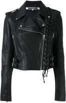McQ by Alexander McQueen Eyelet Biker Jacket - women - Leather/Polyester - 42