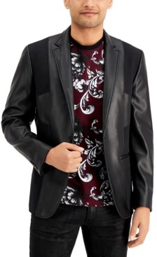 INC International Concepts Inc Men's Faux Leather Pieced Blazer, Created for Macy's