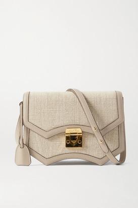 Mark Cross Madeline Linen And Leather Shoulder Bag - Mushroom