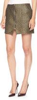 Suno Zip-Front Metallic-Weave Miniskirt