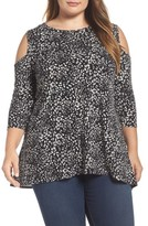 Vince Camuto Plus Size Women's Animal Whispers Cold Shoulder Top