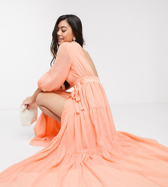 Y.A.S wrap maxi dress with open back in orange