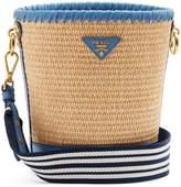 Prada Leather-trimmed woven-raffia bucket bag
