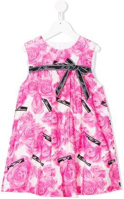 Miss Blumarine Floral Print Bow Dress