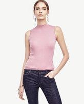 Ann Taylor Ribbed Mock Neck Sleeveless Sweater