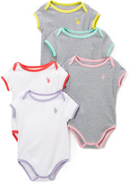 U.S. Polo Assn. White & Gray Contrast Bodysuit Set - Infant