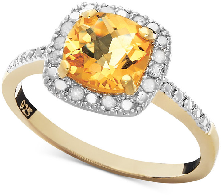 Townsend Victoria 18k Gold over Sterling Silver Ring, Citrine (1-1/4 ct. t.w.) and Diamond (1/10 ct. t.w.) Square
