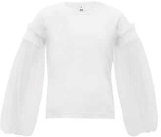 Noir Kei Ninomiya Tulle-panelled Cotton-jersey Top - Womens - White