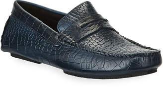 Donald J Pliner Veeto Croc-Embossed Leather Driver Loafers
